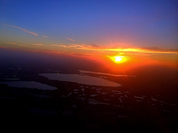 sunrise over Orlando, FL on the flight home